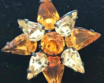 Japanned 1950s Star Pin Brooch Tangerine Teardrop Clear Teardrop Rhinestone