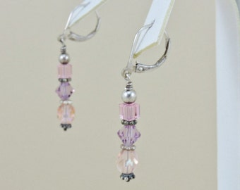 Sterling Silver And Shades Of Purple Glass Bead Earrings