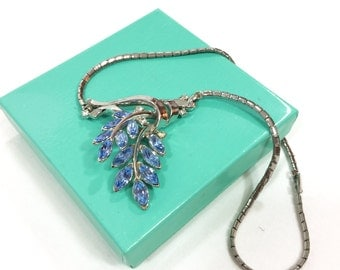 Blue Crystal Pendant Necklace, Floral Pendant, Trifari Spring Fantasy, Rhodium Silver, 1950s, Bridal Jewelry, Vintage Jewelry