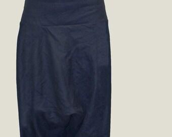 Loose Linen Pants/ Linen Harem Pants/ Wide Leg Pants/ Skirt Pants /Blue Pants/F1038