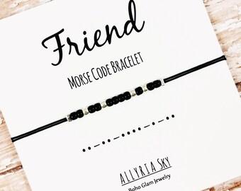 Friend Morse Code Friendship Bracelet | Best Friend Gift Jewelry | For Her, Him, Bestie | Gift Under 20 | Friend Birthday | Beaded Bracelet