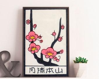 Cherry Blossom, vintage Japanese matchbox print