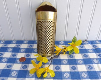 Victorian Era Tin Nutmeg Grater Coffin Shape Gold Washed UK 1890s Punched Tin Kitchen Gadgets Edwardian