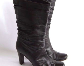 Vintage KENNETH COLE Black Leather Shirred High Heel Mid Calf BOOTS size 5 Made in Italy