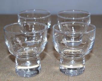 Vintage / Mid Century / Danish Schnapps Shot Glasses / Barware / SSS inscribed on bottom