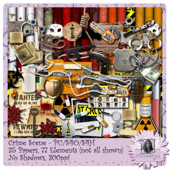 Crime Scene Digital Scrapbooking Kit, Halloween, Scrapbook, Smash Book, Project Life, Cards, Home Decor, Crafts, Craft Projects, Projects
