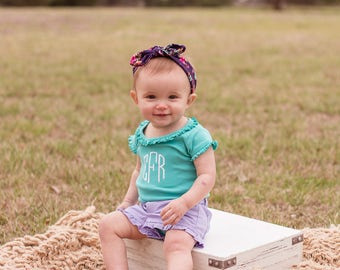 Girls Ruffle Monogram Bodysuit | Short Sleeve Bodysuit | Girls Ruffle Bodysuit | Girls Monogrammed Bodysuit | Gift for Baby | Gifts under 20