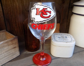 Hand Painted Kansas City Chiefs Wine Glass