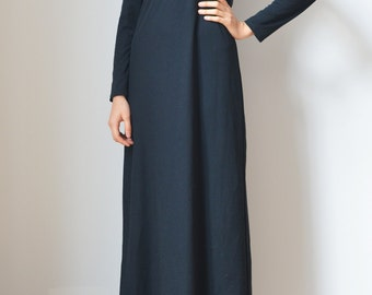 SALE // BLACK DRESS -long sleeve, party, night, sexy, prom, gothic, grunge, witch, 90s, 80s, shiny, glitter, casual, maxi, princess-