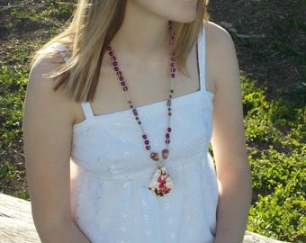 Boho necklace flower print, hemp necklace, floral shell pendant, purple white, beaded necklace, long layering necklace, bohemian jewelry