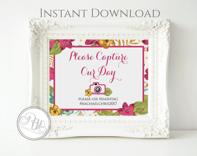 Tropical Wedding Hashtag Photo Template - INSTANT DOWNLOAD-DIY Text Editable-Tropical Island Wedding 'Capture the Day' Sign-Matilda