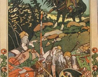 """Illustrator Bilibin Vintage Soviet Postcard """"Marya Morevna"""" Russian folk tale - 1965. Sovetskiy hudozhnik. Battlefield, Warriors, Horse"""
