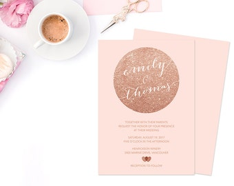 Rose Gold Wedding Invitation, Rose Gold Invitation, Rose Gold Glitter Printable Wedding Invitation, Rose Gold Wedding Invitation Template