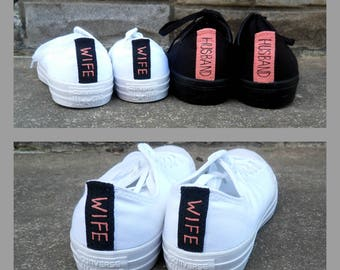 Wedding Shoes Husband and Wife Monochrome Shoes All White Wedding Shoes Groom's All Black Converse Men and Women's Converse Bridal Shoes