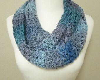 Light Blue Crochet Infinity Scarf
