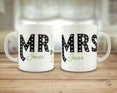 Mr and Mrs mugs, custom w...