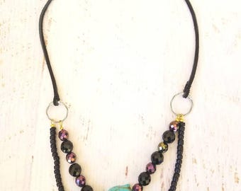 Guitar String Buddha Blue Magnesite, Glass Beads, Black Suede, Gypsy Hippie, Bohemian Jewelry, Funky One of a Kind, Nepantla, Yoga Zen
