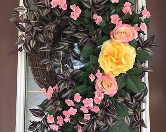 Summer Wreath, Elegant Wreath, Rose Wreath, Front Door Wreath, Grapevine Wreath