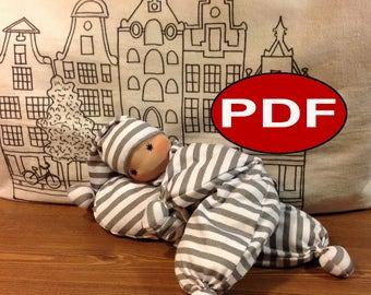 waldorf doll pattern tutorial making doll cloth doll pattern soft DIY pattern waldorf newborn first doll gift organic baby doll teething