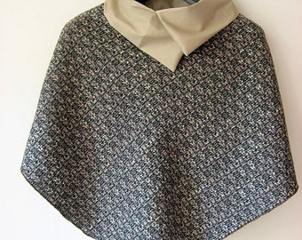 Poncho, Cape, shoulder cape with collar, wool bouclè color grey-rosa- beige