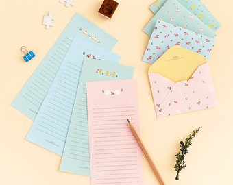 Mini Pastel Letter Paper & Envelope Set (Letter Paper 2 pcs + Envelope 1 pc) Korean Stationery Writing Kawaii Cute