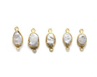 Freshwater Pearls Charm Connector - Gold plated Bezel - 1 pc