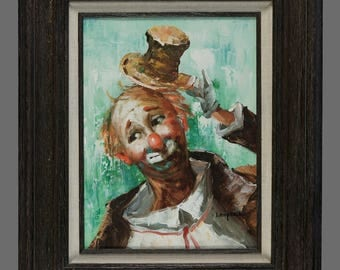Vintage Clown Oil Painting 12 x 16 Circus Art Lawrence