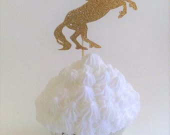 Glitter Unicorn Cupcake Toppers, Various Colors Available