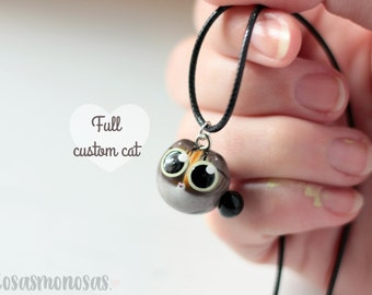 CUSTOM cat jewelry - FULL custom kitty necklace, bracelet or brooch, perfect cat lover custom pet gift handmade from pictures very detailed
