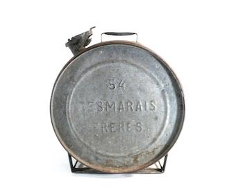 French Desmarais Freres 54 Petrol Tin Can, Round Gas Jerrycan, Industrial Loft Garage Decor