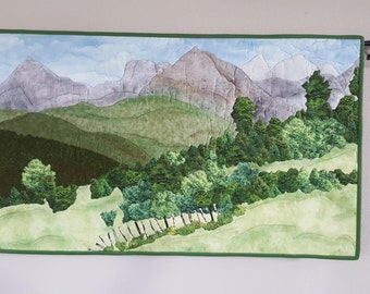 Landscape Quilt Wall Hanging Panel of Pagosa Peak, Colorado