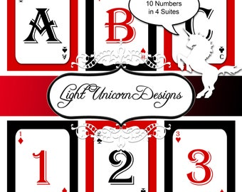Playing Cards Alphabet and Numbers Clipart Scrapbooking Birthday Banner Digital Set