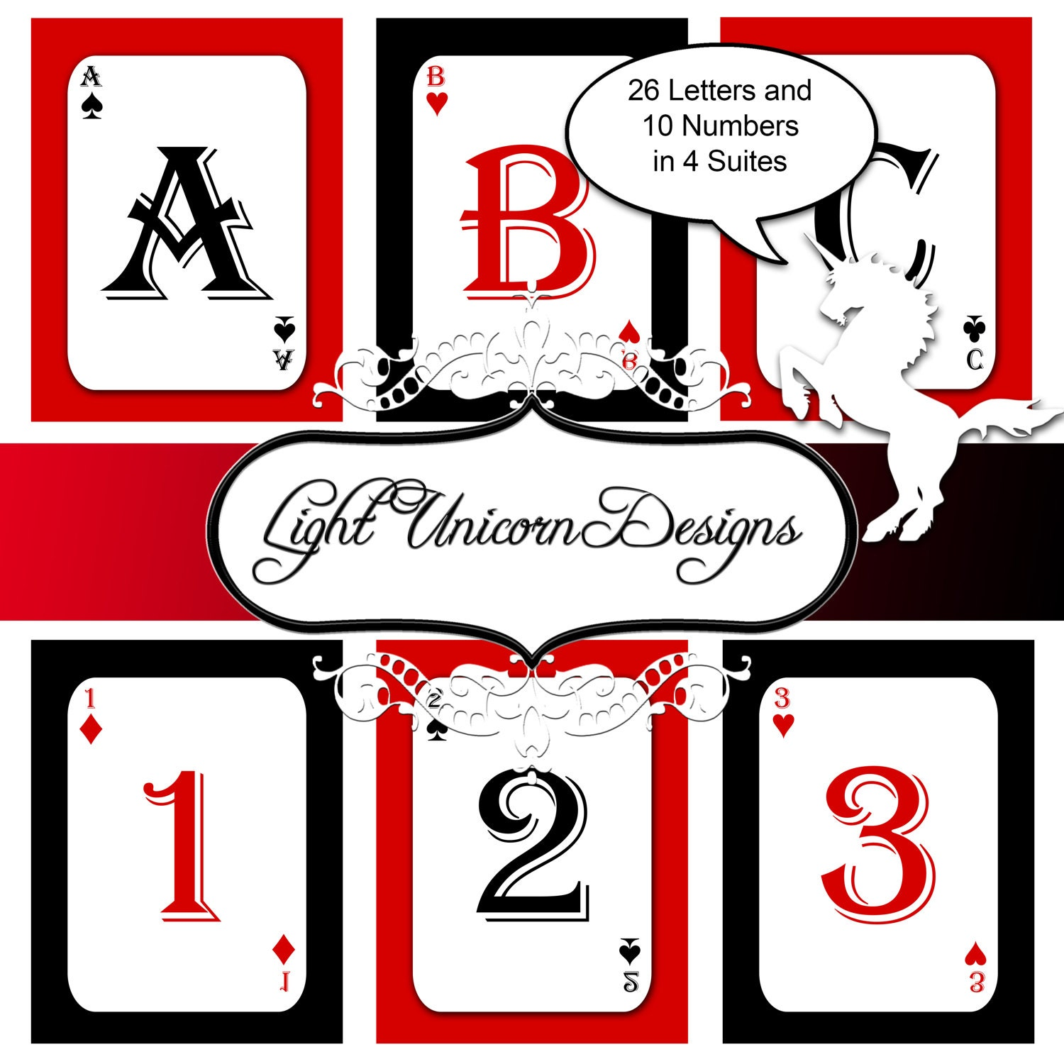 playing cards alphabet and numbers clipart scrapbooking
