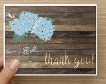 Bridal Shower Thank You Card.  Rustic thank you card.  Mason jar with flowers.  Multiple pack sizes available!
