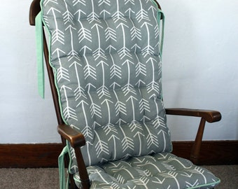 Gray Tribal Arrow Rocking Chair Pads, Glider Replacement Cover, Rocker Seat Cushion, Woodland Baby Shower Gift, New Baby Nursery Decor Grey