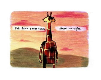 Motivating Giraffe - Stand up eight - 8x11 A4 Print