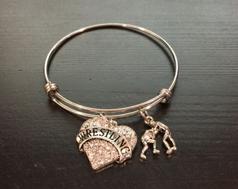 Wrestling Theme Adjustable Bangle Style Bracelet