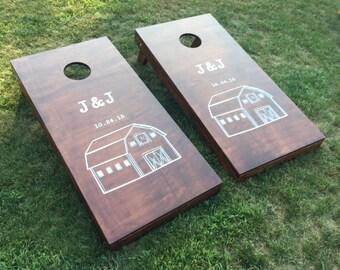 Wood Stained Custom Corn Hole Boards - Custom Company or Farm Logo