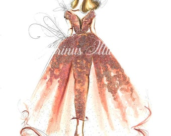 Princess art,  Fashion illustration, Fashion art, Fashion wall art, Fashion sketch, Princess drawing,Watercolor painting,Princess painting