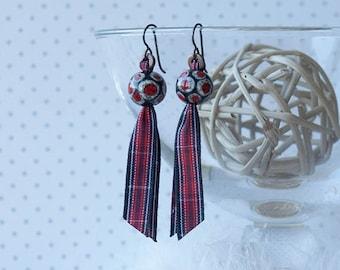 tartan earrings, Welsh earrings, Welsh tartan earrings, CYMRU, hypoallergenic copper coloured niobium earwires