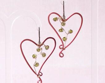 aluminium earrings, aluminium earrings, aluminum earrings heart, aluminium earrings heart, LOVE GROWS, hypoallergenic niobium earwires