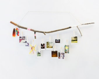 CUSTOMIZABLE Tree Branch Photograph Hanger with Ombre Clothespins Hand Painted & Wrapped w/ Twine and String Rustic Home Decor Photo Display