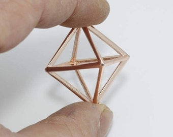 20mm Rose Gold Plated Open Cube Necklace, Open Cube , Open Triangle, Prism , ROSE414