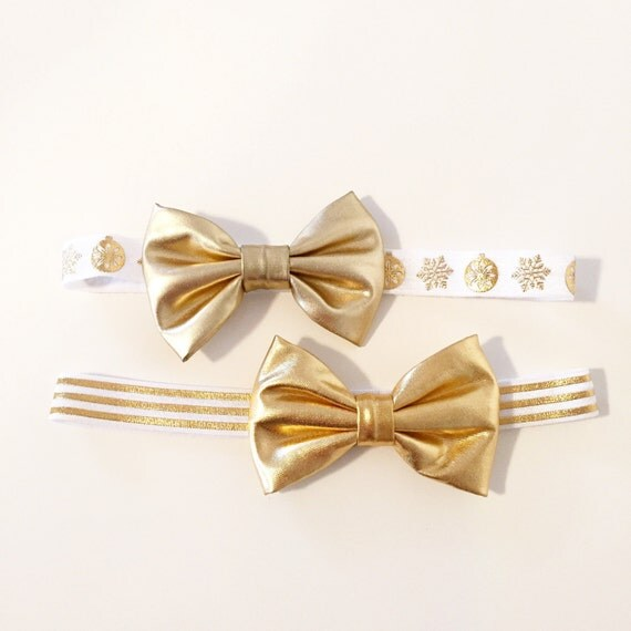 Gold Faux Leather Bow Headbands  White + Gold Snowflake and Gold Foil Stripe Elastic Headbands for Baby Toddler Girls, Big Metallic Gold Bow