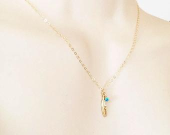 Gold Feather Turquoise Minimalist Necklace - Layered Necklace - Minimalist Jewelry - Gold Filled Chain - Something Blue - Dainty Necklace