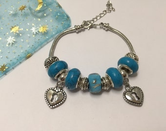 Bracelet charm's, turquoise, with charms hearts ref 828