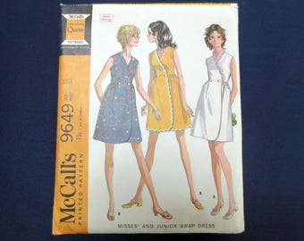 1969 Sleeveless Front Wrap Dress Vintage Pattern, McCalls 9649, Size 12, Bust 34