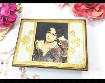 Gold Florentine Portrait Jewelry Box, Portrait Jewelry Box, Gold Jewelry Box, Gift #A729