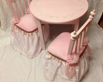 pink princess table set, fairy princess table and chair set, hand painted child's table set, new baby gift