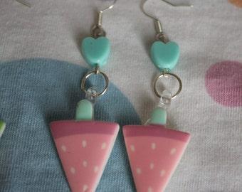 Watermelon earrings pink